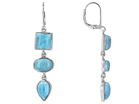 Blue Larimar Rhodium Over Sterling Silver Earrings