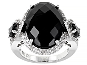 Black Spinel Rhodium Over Sterling Silver Ring 16.00ctw