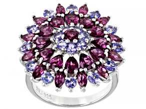 Purple Rhodolite Rhodium Over Sterling Silver Ring 4.40ctw