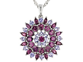 Purple Rhodolite Rhodium Over Silver Pendant With Chain 4.40ctw