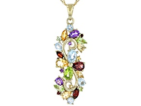 Multi-Gemstone 18k Gold Over Silver Pendant With Chain 3.84ctw