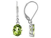 Green Peridot Rhodium Over Sterling Silver Dangle Earrings 2.13ctw