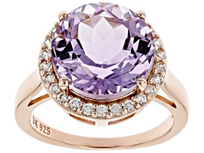 Purple Rose de France Amethyst With White Zircon 18K Rose Gold Over Silver Ring 5.91ctw