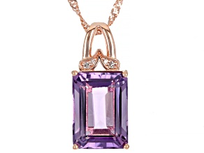 Lavender Amethyst 18k Rose Gold Over Silver Pendant With Chain 6.07ctw