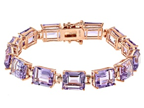 Lavender Rose de France Amethyst 18K Rose Gold Over Sterling Silver Bracelet  39.00ctw