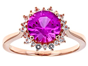 Lab Created Pink Sapphire 18k Rose Gold Over Silver Ring 2.24ctw