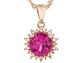 Lab Created Pink Sapphire 18k Rose Gold Over Silver Pendant With Chain 2.24ctw