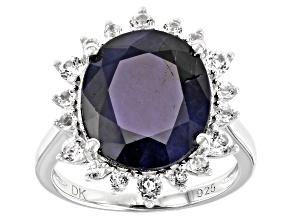 Blue Sapphire Rhodium Over Sterling Silver Ring 8.61ctw