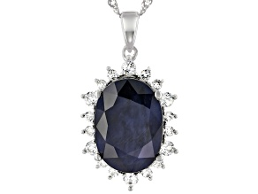 Blue Sapphire Rhodium Over Silver Pendant With Chain 8.19ctw