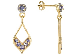 Blue Tanzanite 18k Yellow Gold Over Silver Earrings .79ctw