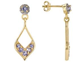Blue tanzanite 18K gold over sterling silver dangle earrings 0.79ctw