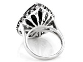 Pear Shape and Round Black Spinel with White Topaz Rhodium Over Silver Ring 14.66ctw