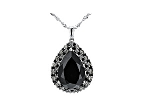 Pear Shape and Round Black Spinel with Topaz Rhodium Over Silver Pendant With Chain 14.66ctw
