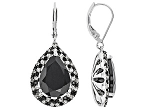 Pear Shape and Round Black Spinel and White Topaz Rhodium Over Silver Earrings 14.92ctw