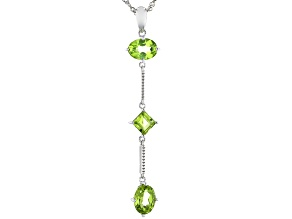 Oval and Square Manchurian Peridot(TM) Rhodium Over Silver 3-Stone Pendant With Chain. 2.81ctw