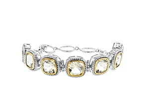 Cushion Yellow Labradorite Rhodium & 18k Gold Over Silver Two-Tone Bracelet. 22.55ctw