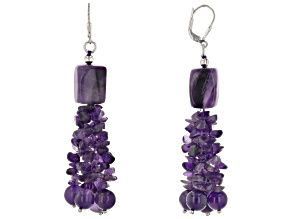 Purple Amethyst Rhodium Over Sterling Silver Dangle Earrings 108.00ctw