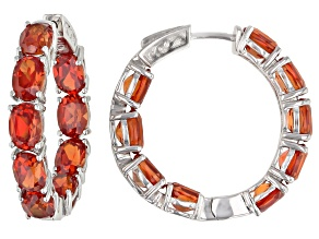 Orange sapphire rhodium over sterling silver inside-out hoop earrings 16.83ctw