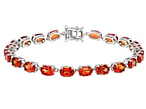 Orange Lab Sunset Sapphire Rhodium Over Sterling Silver Tennis Bracelet. 19.64ctw.