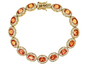 Orange sapphire 18K yellow gold over sterling silver tennis bracelet 16.72ctw