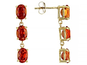 Lab Created Orange Sapphire 18K Yellow Gold Over Sterling Silver Earrings 5.61ctw