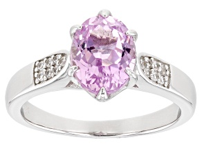 Pink Kunzite Rhodium Over Sterling Silver Ring 2.24ctw
