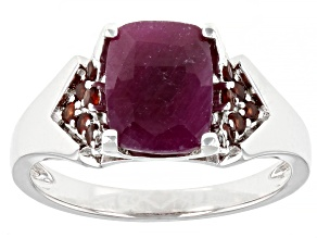 Red Ruby Rhodium Over Sterling Silver Ring 2.62ctw