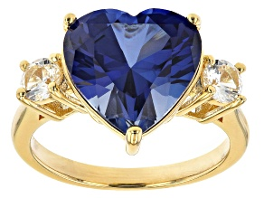 Blue Lab Created Sapphire 18k Yellow Gold Over Sterling Silver Ring 7.53ctw