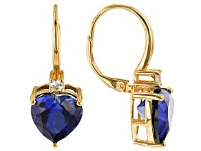 Blue Lab Created Sapphire 18k Yellow Gold Over Sterling Silver Earrings 7.99ctw