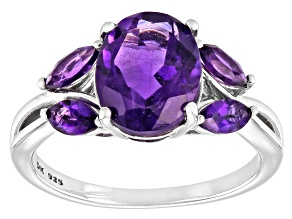 Purple Amethyst Rhodium Over Sterling Silver Ring 2.44ctw