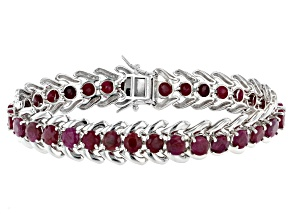 Red Indian Ruby Rhodium Over Sterling Silver Bracelet 23.04ctw