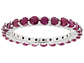 Red Ruby Rhodium Over Sterling Silver Eternity Band Ring 2.43ctw