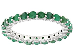 Green Emerald Rhodium Over Sterling Silver Eternity Band Ring 1.50ctw