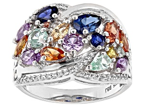 Multi-Color Lab Created Sapphire Rhodium Over Sterling Silver Ring 3.19ctw