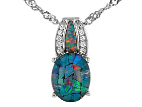 Mutli Color Mosaic Opal Triplet Rhodium Over Silver Pendant With Chain 0.10ctw