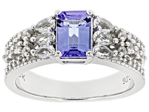 Blue Tanzanite Rhodium Over Sterling Silver Ring 1.47ctw