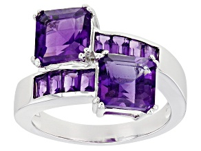 Purple Amethyst Rhodium Over Sterling Silver Bypass Ring 3.21ctw