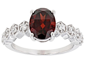 Red Garnet Rhodium Over Sterling Silver Ring 1.82ctw