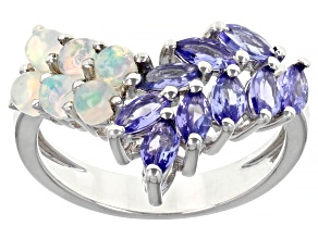 Blue Tanzanite Rhodium Over Sterling Silver Ring 1.76ctw
