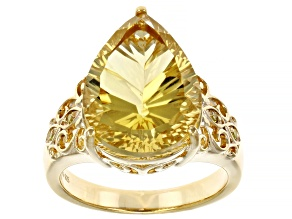 Brown Champagne Quartz 18k Yellow Gold Over Sterling Silver Ring 6.68ctw