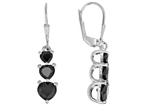 Black Spinel Rhodium Over Sterling Silver 3-Stone Earrings 2.97ctw