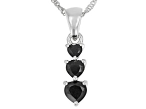 Black Spinel Rhodium Over Sterling Silver Pendant With Chain 1.48ctw