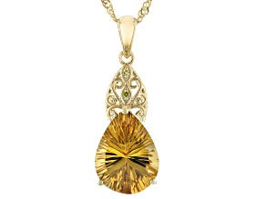 Yellow Quartz 18k Yellow Gold Over Sterling Silver Pendant With Chain 7.77ctw