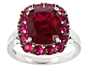 Red Lab Created Ruby Rhodium Over Sterling Silver Ring 6.32ctw