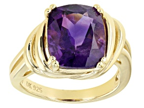 Purple Amethyst 18k Yellow Gold Over Sterling Silver Solitaire Ring 4.68ct