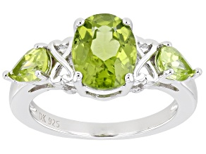 Green Peridot Rhodium Over Sterling Silver 3-Stone Ring 2.39ctw