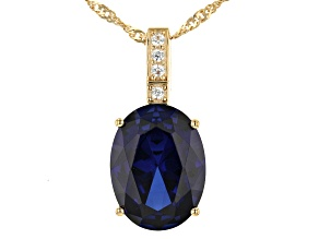 Blue Lab Created Sapphire 18k Yellow Gold Over Silver Pendant 8.70ctw
