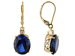 Blue Lab Created Sapphire 18k Yellow Gold Over Sterling Silver Earrings 11.25ctw