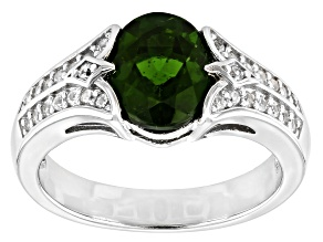 Green Chrome Diopside Rhodium Over Sterling Silver Ring 2.08ctw