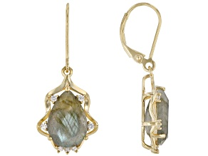 Gray Labradorite 18k Yellow Gold Over Sterling Silver Dangle Earrings 7.90ctw
